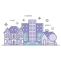Residential Buildings and Houses Illustration vector