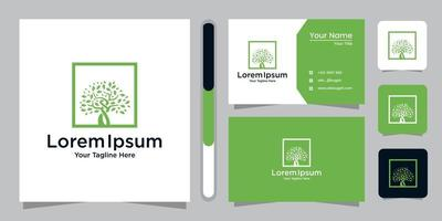 Tree logo design and business card vector