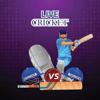 Cricket league poster with golden trophy and cricketers helmet vector