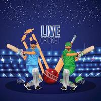 Cricket Match concept with stadium, batsman playing cricket and gold trophy, banner collection vector