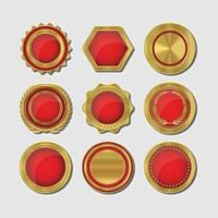 insignias de calidad premium rojas y doradas vector
