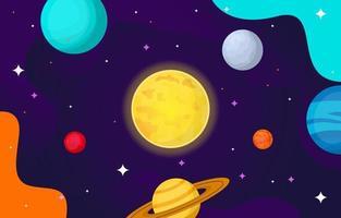 Planeta estrella sol luna espacio ilustración vectorial plana