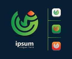 Diseño de logotipo de lápiz verde para diseñadores gráficos, plantilla vector