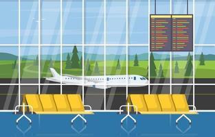 aeropuerto, avión, terminal, puerta, sala de espera, pasillo, interior, plano, ilustración vector