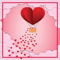 Happy valentines day invitation card template with hot air balloon heart shape vector