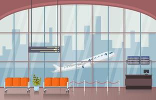 Airport Airplane Terminal Gate Waiting Room Hall Interior Flat Illustration vector
