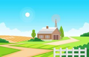 Agriculture Field Farm Rural Meadow Nature Scene Landscape Illustration
