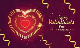 Valentines day greeting card with line heart vector
