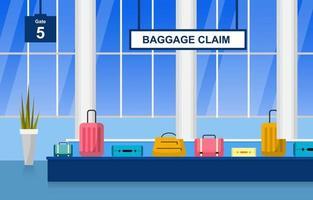 aeropuerto, avión, terminal, puerta, transportador, vestíbulo, llegada, interior, plano, ilustración vector