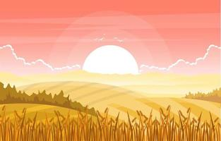 Agriculture Wheat Field Farm Rural Nature Scene Landscape Illustration vector