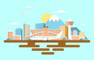 Aircraft Plane in Runway Airport Terminal Building Landscape Skyline Illustration vector