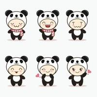 cute panda mascot with various kinds of expressions set collection vector