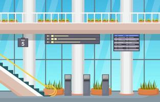 Airport Airplane Terminal Gate Arrival Departure Hall Interior Flat Illustration vector