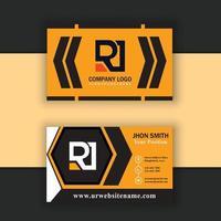 vector de plantilla de tarjeta de visita naranja y negra moderna