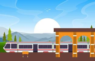 Railway Public Transport Commuter Metro Train Station Flat Illustration vector
