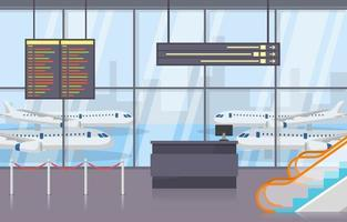 aeropuerto, avión, terminal, puerta, llegada, salida, pasillo, interior, plano, ilustración vector