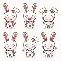 cute bunny rabbit mascot with various kinds of expressions set collection vector