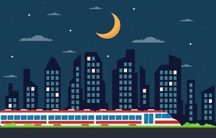 Railway Railroad Side Public Transport Commuter Metro Train Landscape Illustration vector