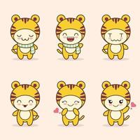 cute tiger mascot with various kinds of expressions set collection vector