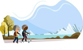 Vector image of an elderly couple walking. Concept. Cartoon style
