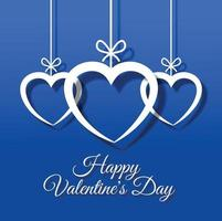 Valentines day background with white hearts hanging vector
