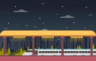 ferrocarril transporte público suburbano metro estación de tren ilustración plana