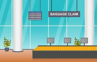 Airport Airplane Terminal Gate Conveyor Arrival Hall Interior Flat Illustration vector