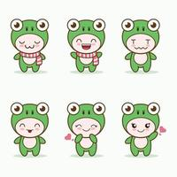 cute frog mascot with various kinds of expressions set collection vector