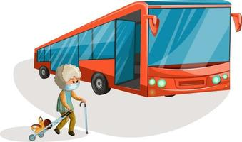 Vector image of an elderly woman in a medical mask with luggage on wheels walking towards the bus. Concept. Cartoon style.