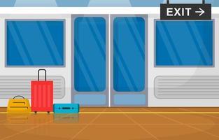 ferrocarril transporte público suburbano metro tren puerta ilustración plana