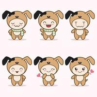 cute dog mascot with various kinds of expressions set collection vector