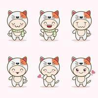 Linda mascota gato con varios tipos de expresiones colección de conjuntos vector