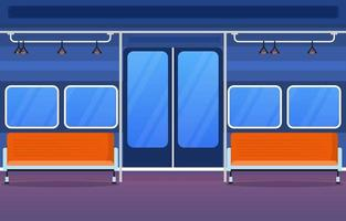 Railway Public Transport Commuter Metro Train Door Flat Illustration vector