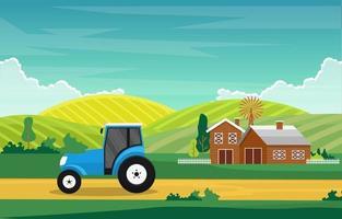 Agriculture Field Farm Rural Meadow Nature Scene Landscape Illustration
