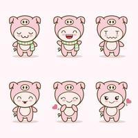 Linda mascota de cerdo con varios tipos de expresiones. vector