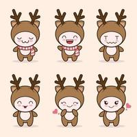 cute deer mascot with various kinds of expressions set collection vector