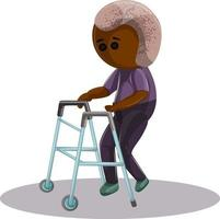 Vector image of an elderly dark-skinned man with diseases of the musculoskeletal system walking with a support