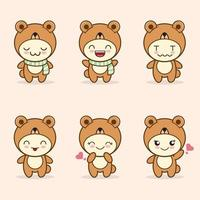 cute bear mascot with various kinds of expressions set collection vector