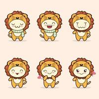 cute lion mascot with various kinds of expressions set collection vector