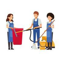 equipo de limpieza con equipo de limpieza vector