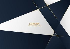 Abstract white and dark blue background with golden line luxury concept. vector