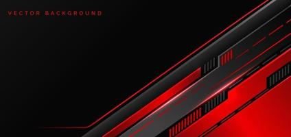 Abstract technology geometric red and black color with red light on black background. vector