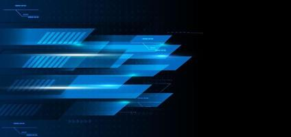 Abstract technology geometric blue and black color with blue light on black background. vector