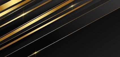 Abstract template golden and black stripes with gold light with copy space for text. Luxury style. vector