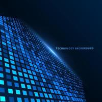 Abstract technology futuristic digital concept square pattern with perspective on dark blue background.