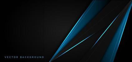 Plantilla abstracta superposición azul metálico con estilo de tecnología moderna luz azul sobre fondo negro. vector