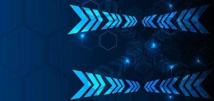 Abstract blue background geometric hexagon overlapping with arrow  lighting effect. Technology concept. vector