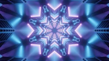 Ilustración 3d de caleidoscopio de formas y luces azules, púrpuras y blancas para fondo o papel tapiz foto
