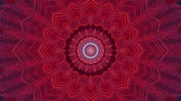 Ilustración 3d de caleidoscopio de formas y luces rojas, púrpuras y blancas para fondo o papel tapiz foto
