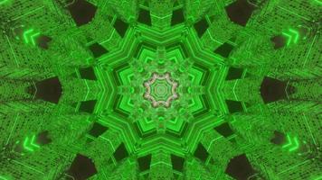 Ilustración 3d de caleidoscopio de formas y luces verdes y blancas para fondo o papel tapiz foto